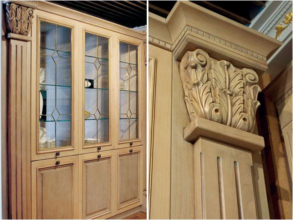 白色加原木色的防古烟机罩配上纯手工雕刻的吧台